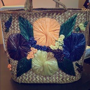 Vintage 60s straw handbag